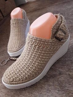 Details about Womens Ankle Strap Mary Janes Sweet Dot Wedge high Heels Bowknot Shoes Pumps Crochet Sandals, Crochet Shoes, Crochet Slippers, Crochet Clothes, Casual Sneakers, Casual Shoes, Loafer Shoes, Shoes Sandals, Spring Boots