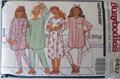 Sewing Pattern Busybodies 6427 / Girls Pajamas and Nightshirt / All sizes included / UNCUT / Vintage from 1992