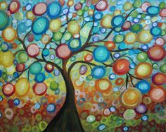 LANDSCAPE Original Abstract Painting Enchanted Trees Impasto