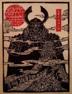 Star Wars Darth Vader Samurai Woodcut Print