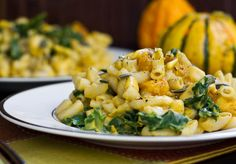 """butternut squash & kale vegan mac and cheese via oh she glows: Basic nutritional yeast """"cheese"""" recipe with squash blended into it. Good! Will use less Dijon next time, though flavors mellowed out a bit after sitting. Omari LOVED it."""
