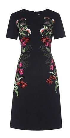 Black Flower Embroidered A-line Dress