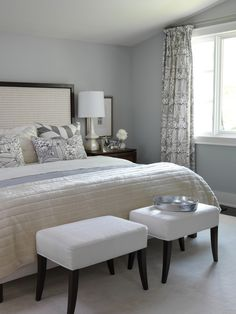 Sarah Richardson:  In the master bedroom, Sarah created a classic, calming space with a subdued color scheme. The gray and cream palette is infused with rich pattern and texture, giving the space a touch of Hollywood glam.