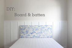 Board & batten feito com sarrafo de Pinus - DiY | eh!DÉCOR Board And Batten, Decoration, Boards, Diy, Home Decor, Design, Timber Bedhead, Nightstands And Bedside Tables, Bedroom Decor