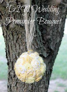 DIY Pomander Bouquet using fabric flowers.