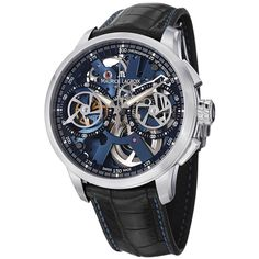 Maurice Lacriox Men's MP7128-SS001-400 'MasterPiece' Blue Skeleton Dial Black Leather Strap Watch | Overstock.com Shopping - The Best Deals on Maurice Lacroix Men's Watches
