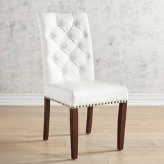 Pier 1 Imports Hudson White Vegan Leather Dining Chair with Walnut Wood White Dinning Chairs, Round Back Dining Chairs, White Leather Dining Chairs, Farmhouse Table Chairs, Dining Room Table Chairs, Ikea Chairs, Arm Chairs, Kitchen Chairs, Office Chairs