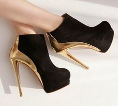 2435c7aa5fe7 New Arrival Suede Ankle Boot Women Platform Shoes Sexy Golden High Heels  (Black + White