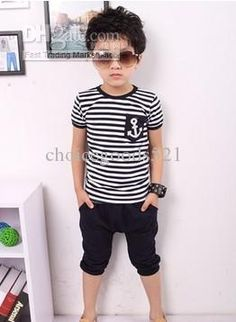 baby clothes boys summer clothing Navy anchors stripe wear suit 2 pieces 20p/l