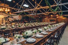 industrial wedding. love the family style seating arrangement