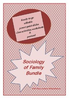 This is comprehensive pack of resources for teaching Sociology of Family, full of ready-to-go power-point slides (editable too!), worksheets, class activities and posters!   BUNDLE & SAVE! This product includes the following:  •Sociology of Family Worksheet   This worksheet is aimed at revising the three important theories of family, Marxism, Functionalism and Feminism by asking students to identify the respective theory that alludes to various aspects of family life.