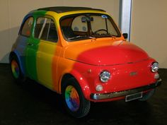 I need this clown car! It will help with my clown audition. Fiat 500, Fiat Cars, Car Museum, Circus Birthday, Pink Room, Unique Cars, Small Cars, Color Of Life, Old Trucks