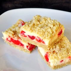 Game day snack badger colors Cherry Vanilla Cheesecake Bars - an easy and festive recipe for scrumptious cheesecake cookie bars. Cheesecake Bars, Cheesecake Recipes, Cookie Recipes, Dessert Recipes, Cookie Ideas, Just Desserts, Delicious Desserts, Yummy Food, Rock Recipes