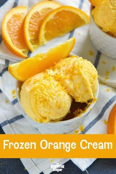 Frozen Orange Cream Frozen Orange Cream – Just 5 ingredients are all you need to make this light and refreshing This quick and easy ice cream recipe first appeared in the Homemade Good News Cookbook in Cool and crisp Orange Creamsicle Ice Cream Recipe, Orange Ice Cream, Orange Creme, Light Orange, Frozen Yogurt Recipes, Frozen Desserts, Frozen Treats, Easy Ice Cream Recipe, Ice Cream Recipes