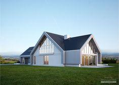 Projekt domu LK&1140 Dormer House, Prefab Homes, Bungalow, Building A House, Architecture Design, Shed, Outdoor Structures, Modern Living, Villas