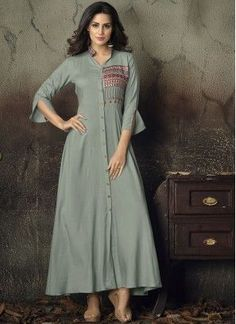 Check out new arrivals of kurti in different styles, designs and fabrics. Shop this dignified embroidered work grey party wear kurti for party. Kurti Sleeves Design, Kurti Neck Designs, Dress Neck Designs, Kurta Designs Women, Kurti Designs Party Wear, Blouse Designs, Kurti Patterns, Sewing Patterns, Kurti Collection