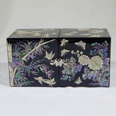 Vintage Korean Lacquer Jewelry Box w Inlaid Mother of Pearl Deer