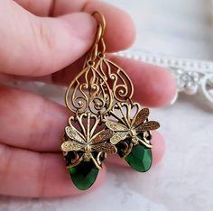 Smaragd grüne Libelle Ohrringe Jugendstil Libelle von Federikas