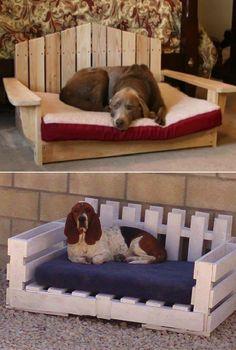 Diy dog bed using wooden pallets köpekler köpek yatakları, e Wooden Pallet Furniture, Dog Furniture, Wooden Pallets, Furniture Ideas, Furniture Design, Furniture Removal, Outdoor Furniture, Furniture Stores, Cheap Furniture
