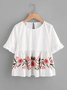 To find out about the Trumpet Sleeve Flower Embroidered Smock Top at SHEIN, part of our latest Blouses ready to shop online today! Teen Fashion Outfits, Look Fashion, Girl Fashion, Casual Outfits, Fashion Dresses, Cute Outfits, Fashion Images, Jugend Mode Outfits, Stylish Dresses