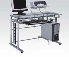 Felix Silver Chrome Metal Computer Desk 92040