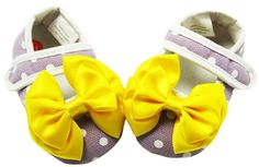 Lavender & White Polka Dot Yellow Bow Crib Shoes $6.99