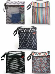 Hop Skip and Go Wet Dry Bags. Perfect for busy moms- Use for pump parts, diaper bags, dirty clothes, cloth diapers, etc.