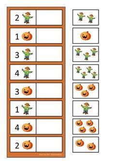 By Autismespektrum. Fall Preschool, Preschool Learning Activities, Kindergarten Math, Kids Learning, Space Activities, Numbers Preschool, Preschool Printables, Halloween Math, Halloween Activities