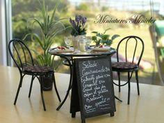 Miniature Dollhouse Boulevard Crêperie Table Set by Minicler, $67.43