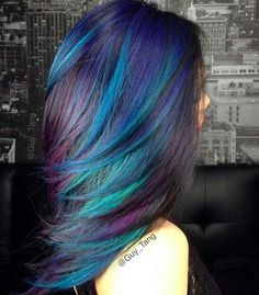 Blue, aqua, purple & black hair color