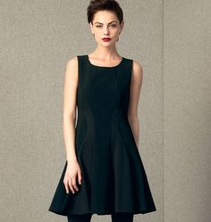 V1408  **  DKNY Misses Dress  **  FABRICS: Moderate Stretch Knits: Stretch Wovens, Ponte Knits. Lining: Stretch Crepe, Tricot.