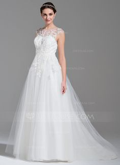 Ball-Gown Scoop Neck Sweep Train Beading Appliques Lace Sequins Zipper Up Covered Button Cap Straps Sleeveless Church General Plus No Winter Spring Fall Ivory Tulle Wedding Dress
