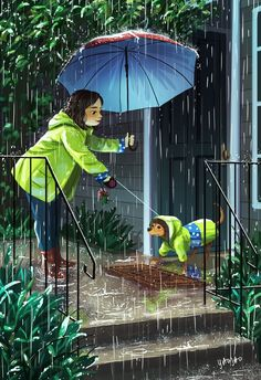 personal illustrations and paintings by yaoyao ma van as Cartoon Kunst, Cartoon Art, Cartoon Illustrations, Cartoon Characters, Alone Art, Photo Images, Dog Illustration, Girl And Dog, Cartoon Wallpaper