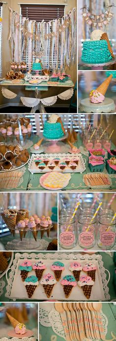 great party ideas Ice Cream Theme would be cute in mint 3rd Birthday Parties, Girl Birthday, Birthday Ideas, Cake Birthday, Birthday Celebration, Birthday Gifts, Bar A Bonbon, Ice Cream Social, Festa Party