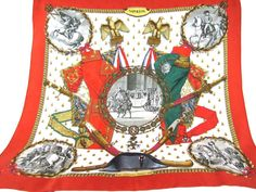 HERMES Paris 90cm Militarian Equestrian Napoleon Boneparte Historical Silk Scarf #Hermes #Scarf