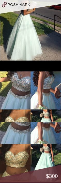 2 piece prom dress size 0, only worn once! detailed for $550, selling for 300! Jovani Dresses Prom