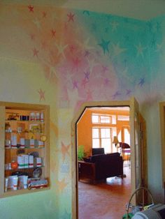 lazure painting for child's room or playroom. Perfect for a room for a boy and girl.