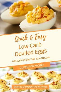 Looking for an on-the-go snack you can make in minutes? This delicious low carb deviled eggs are not only packed with flavor, but are also filled with energizing nutrients that keep you going for hours! #lowcarbdeviledeggs #lowcarbrecipe #lowcarbeggrecipe Best Low Carb Recipes, Vegetarian Curry, On The Go Snacks, Gluten Free Snacks, Lunch To Go, Low Carb Breakfast, Deviled Eggs, Side Dishes, January