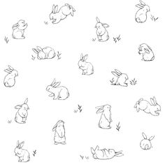 baby wallpaper Bunnies in the Country by Lilipinso - Black / White : Wallpaper Direct Bunny Tattoos, Rabbit Tattoos, Baby Wallpaper, Wallpaper Direct, Rabbit Wallpaper, Animal Drawings, Cute Drawings, Easter Drawings, Hase Tattoos