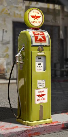 Flying A Gasoline - National Gas Pump Canvas Print / Canvas Art by Mike McGlothlen Old Gas Pumps, Vintage Gas Pumps, Station Essence, Retro, Pompe A Essence, Gas Service, Old Garage, Old Gas Stations, Filling Station