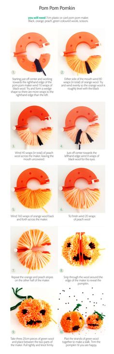 Pomkin Tutorial - How to make a pumpkin pom pom for Halloween - Christine Leech | Sew Yeah