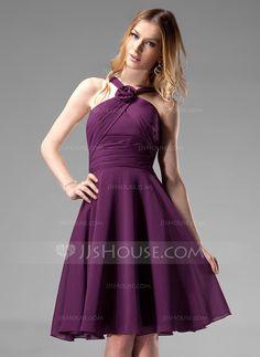 Bridesmaid Dresses - $99.99 - A-Line/Princess V-neck Knee-Length Chiffon Bridesmaid Dress With Ruffle Flower(s) (007004170) http://jjshouse.com/A-Line-Princess-V-Neck-Knee-Length-Chiffon-Bridesmaid-Dress-With-Ruffle-Flower-S-007004170-g4170