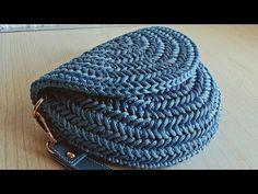 شنطة كروشيه بغرزة عضم الرنجة نصف دائرية شكل مميز وأنيق - YouTube Lace Knitting Patterns, Crochet Basket Pattern, Crochet Bag Tutorials, Crochet Basics, Cute Crochet, Knit Crochet, Crochet Hats, Crochet Handbags, Knitted Bags