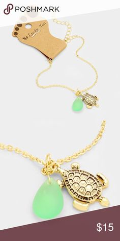 """Turtle Anklet • Anklet Size : 8"""" + 2"""" L  • Charm Size : 0.4"""" x 0.6""""  • One side only • Turtle Anklet with Tear Drop Natural Stone Jewelry"""