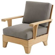 Teak club chair with pebble-upholstered cushions.   Product: ChairConstruction Material: Teak and fabricColor: PebbleDimensions: 33 H x 31.5 W x 35 DNote: Assembly required. Hardware included.Cleaning and Care: Clean thoroughly once or twice a year with a mild detergent