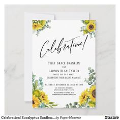 Sunflower Party, Reception Invitations, Marriage, Weddings, Celebrities, Valentines Day Weddings, Celebs, Wedding, Mariage