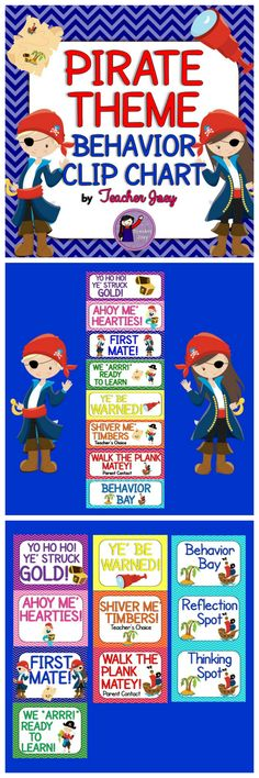 "Pirate Theme Behavior Chart Behavior Clip Chart Chevron  This set will surely match your Pirate -Themed classroom!  This behavior clip chart is designed with chevron and pirate clip art and comes in two sizes - whole-page and half page. I also made headers for your ""reflection"" corner."
