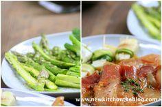 Hähnchen mit Piment d'Espelette, Halloumi-Zucchini-Röllchen, Grillgemüse mit Tomaten und Mozzarella und Kritharaki-Salat
