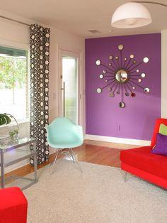 Modern Living Room   Mid-Century Modern   Pantone Color   Radiant Orchid   Interior Design
