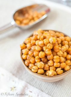 Crispy Oven Roasted Chickpeas Recipe   -These actually keep very well for a couple of day. It is a great way to get a punch of fiber and protein when on the go!